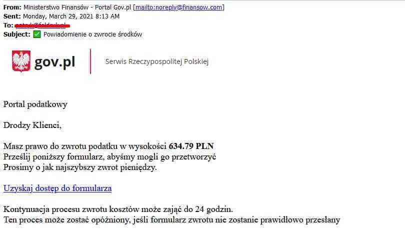 Uwaga na fałszywe maile z serwisu portal.gov.pl